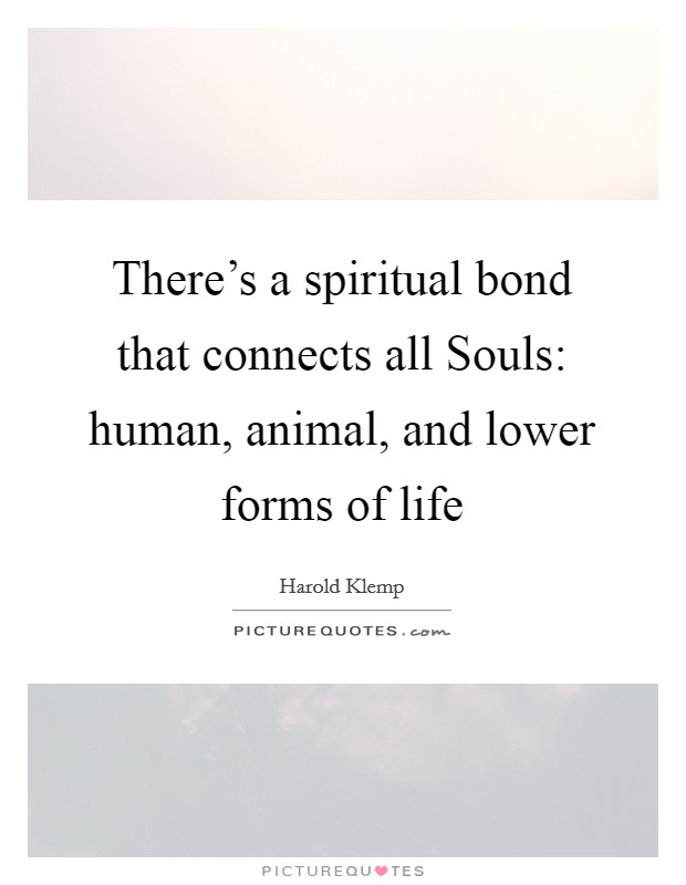 There's a spiritual bond that connects all Souls: human, animal, and lower forms of life Picture Quote #1