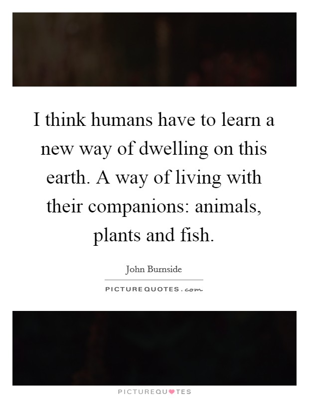 I think humans have to learn a new way of dwelling on this earth. A way of living with their companions: animals, plants and fish Picture Quote #1