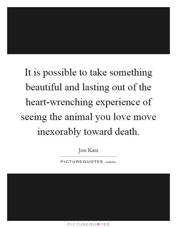 It is possible to take something beautiful and lasting out of the heart-wrenching experience of seeing the animal you love move inexorably toward death Picture Quote #1