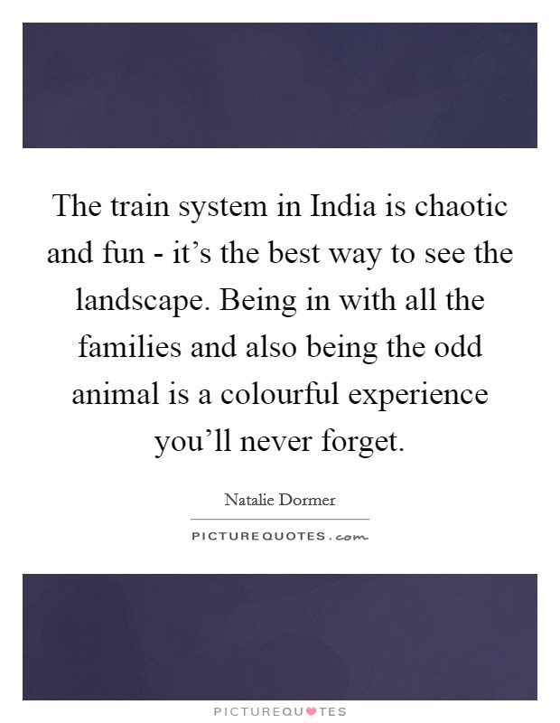 The train system in India is chaotic and fun - it's the best way to see the landscape. Being in with all the families and also being the odd animal is a colourful experience you'll never forget Picture Quote #1