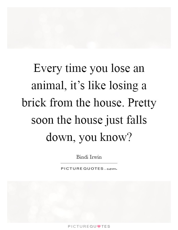 Every time you lose an animal, it's like losing a brick from the house. Pretty soon the house just falls down, you know? Picture Quote #1