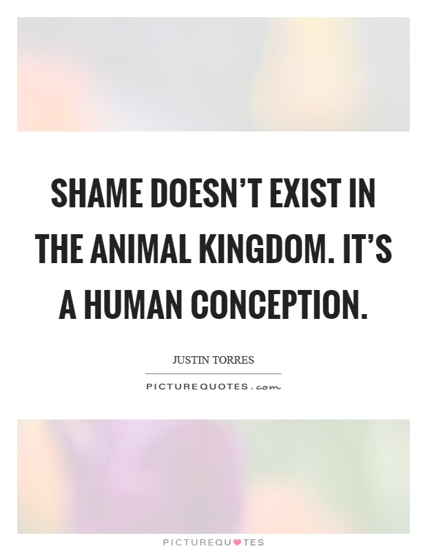 Shame doesn't exist in the animal kingdom. It's a human conception Picture Quote #1