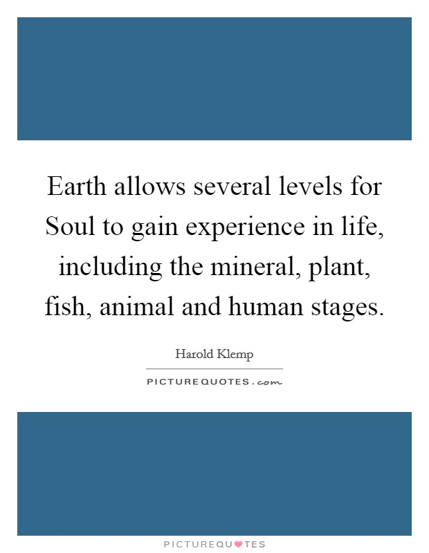 Earth allows several levels for Soul to gain experience in life, including the mineral, plant, fish, animal and human stages Picture Quote #1