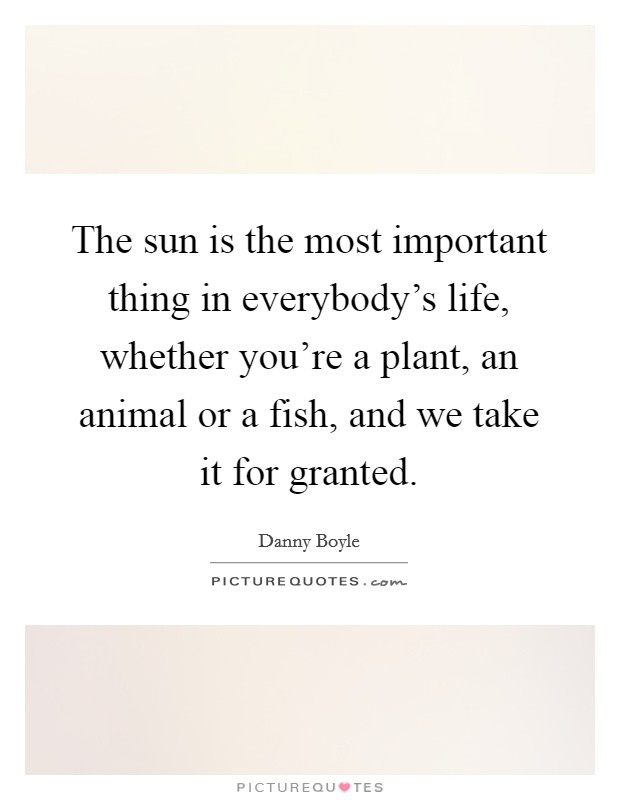 The sun is the most important thing in everybody's life, whether you're a plant, an animal or a fish, and we take it for granted Picture Quote #1