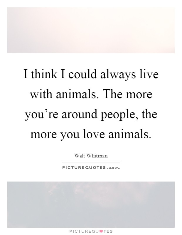 I think I could always live with animals. The more you're around people, the more you love animals Picture Quote #1
