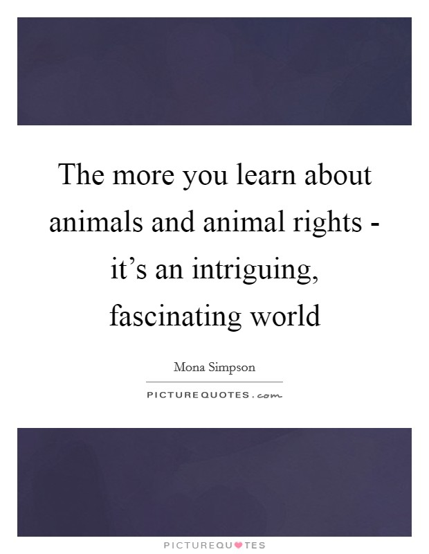 The more you learn about animals and animal rights - it's an intriguing, fascinating world Picture Quote #1