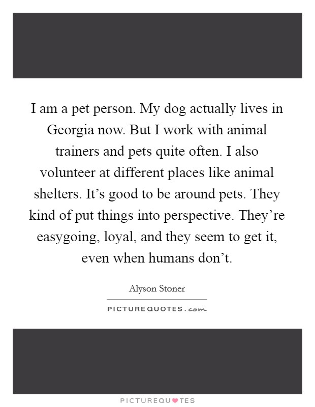 I am a pet person. My dog actually lives in Georgia now. But I work with animal trainers and pets quite often. I also volunteer at different places like animal shelters. It's good to be around pets. They kind of put things into perspective. They're easygoing, loyal, and they seem to get it, even when humans don't Picture Quote #1