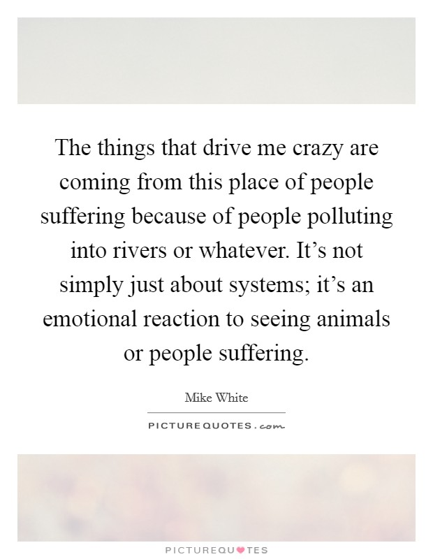 The things that drive me crazy are coming from this place of people suffering because of people polluting into rivers or whatever. It's not simply just about systems; it's an emotional reaction to seeing animals or people suffering Picture Quote #1