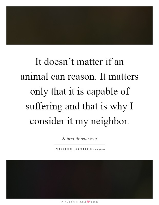 It doesn't matter if an animal can reason. It matters only that it is capable of suffering and that is why I consider it my neighbor Picture Quote #1