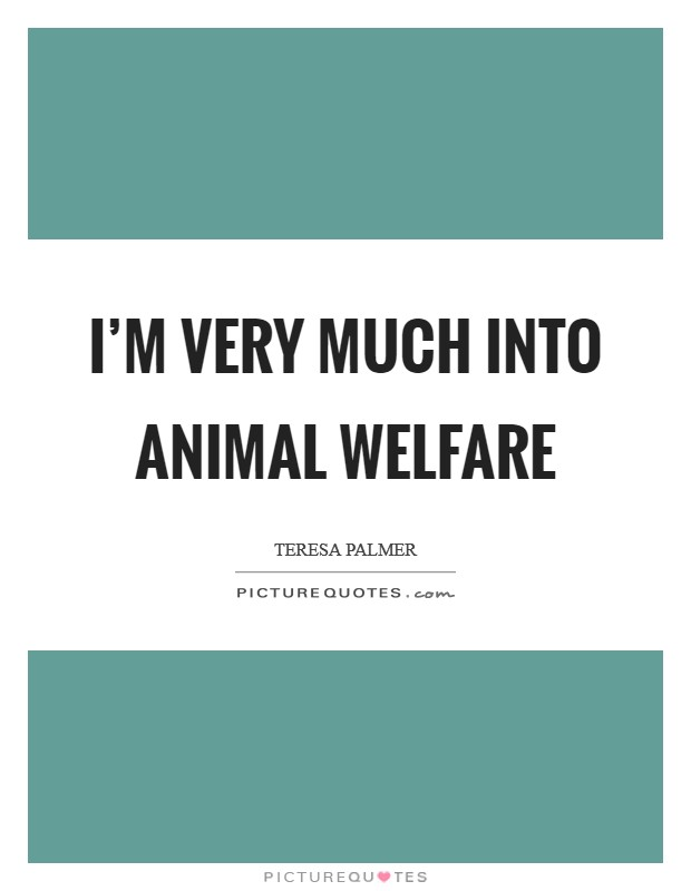 I'm very much into animal welfare Picture Quote #1