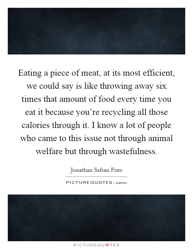 Eating a piece of meat, at its most efficient, we could say is like throwing away six times that amount of food every time you eat it because you're recycling all those calories through it. I know a lot of people who came to this issue not through animal welfare but through wastefulness Picture Quote #1