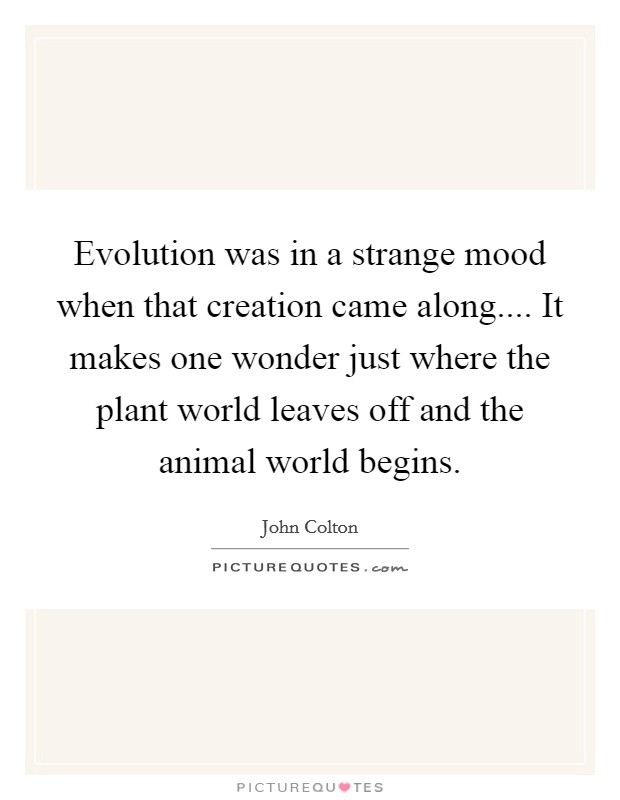 Evolution was in a strange mood when that creation came along.... It makes one wonder just where the plant world leaves off and the animal world begins Picture Quote #1