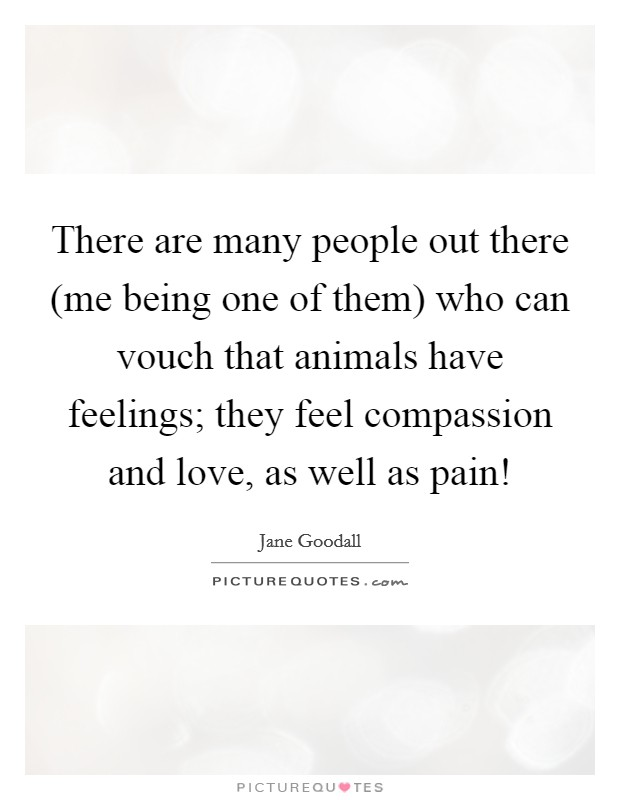 There are many people out there (me being one of them) who can vouch that animals have feelings; they feel compassion and love, as well as pain! Picture Quote #1