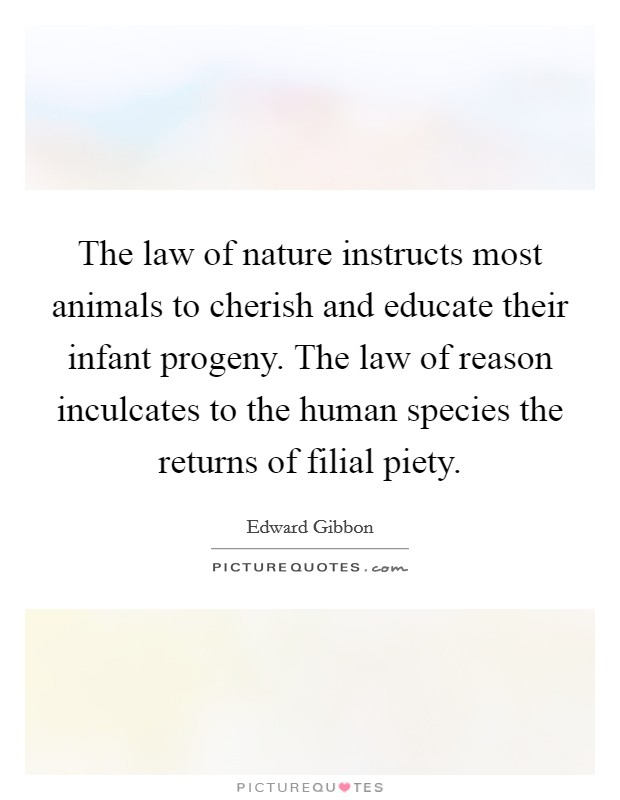 The law of nature instructs most animals to cherish and educate their infant progeny. The law of reason inculcates to the human species the returns of filial piety Picture Quote #1