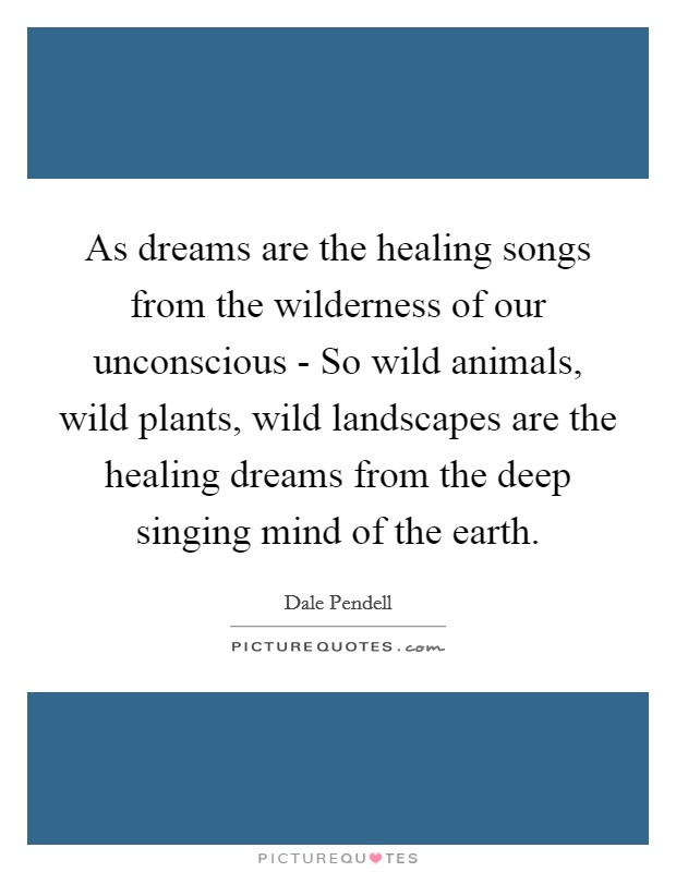 As dreams are the healing songs from the wilderness of our unconscious - So wild animals, wild plants, wild landscapes are the healing dreams from the deep singing mind of the earth Picture Quote #1