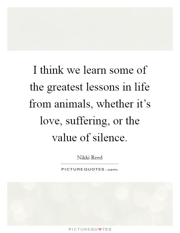 I think we learn some of the greatest lessons in life from animals, whether it's love, suffering, or the value of silence Picture Quote #1