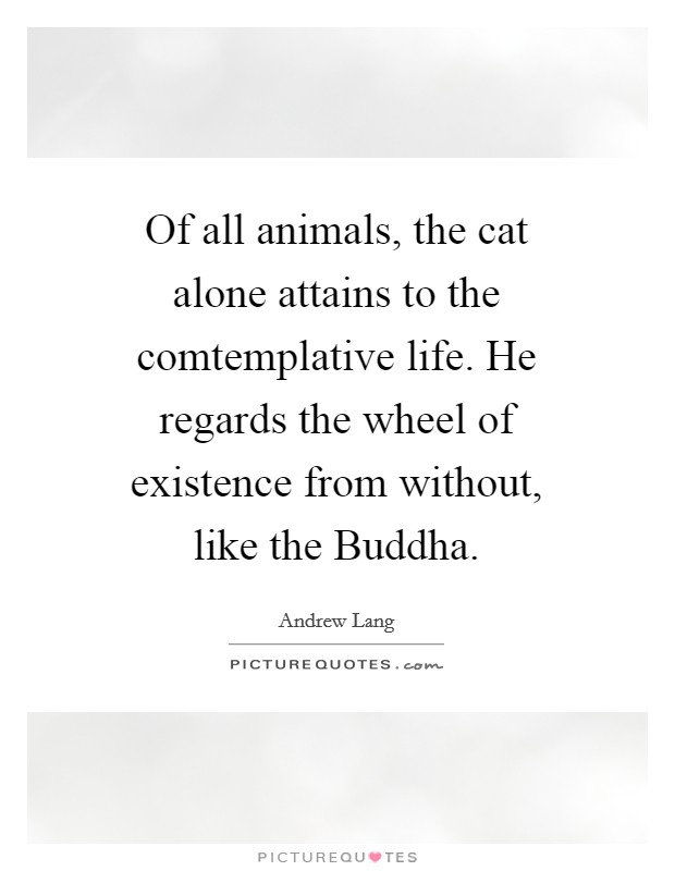 Of all animals, the cat alone attains to the comtemplative life. He regards the wheel of existence from without, like the Buddha Picture Quote #1