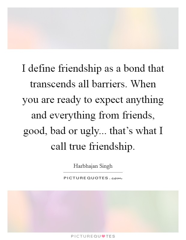 I define friendship as a bond that transcends all barriers. When you are ready to expect anything and everything from friends, good, bad or ugly... that's what I call true friendship Picture Quote #1
