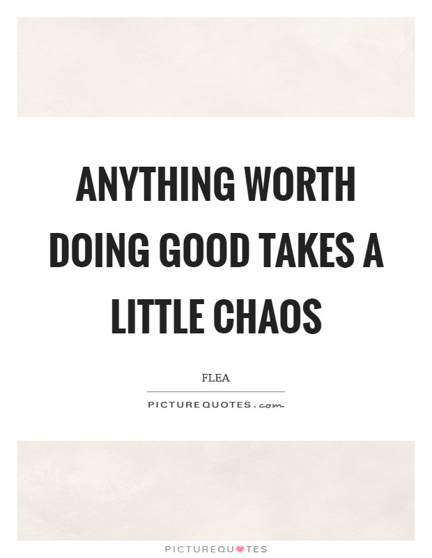 Anything worth doing good takes a little chaos Picture Quote #1