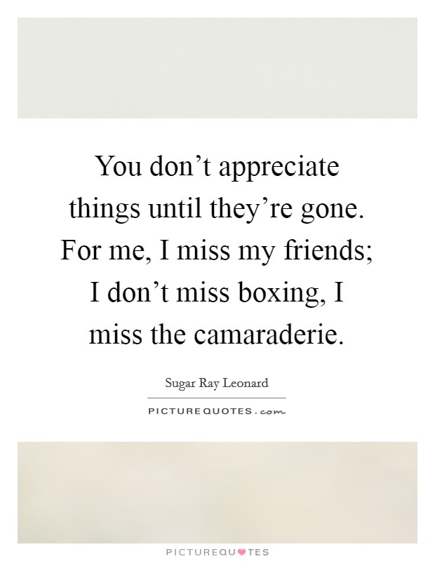 You don't appreciate things until they're gone. For me, I miss my friends; I don't miss boxing, I miss the camaraderie Picture Quote #1