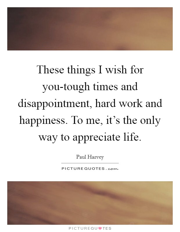These things I wish for you-tough times and disappointment, hard work and happiness. To me, it's the only way to appreciate life Picture Quote #1