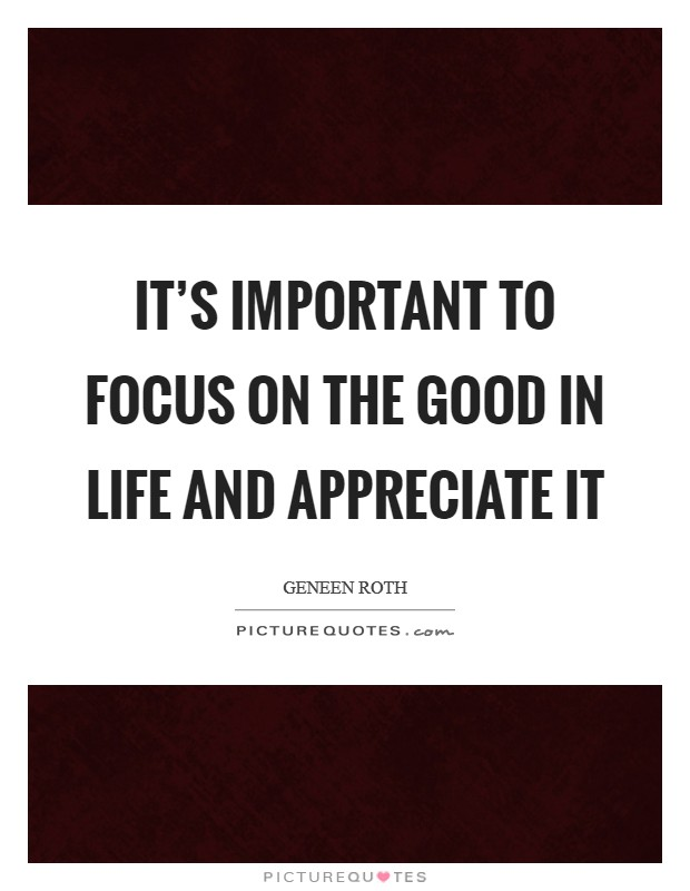 It's important to focus on the good in life and appreciate it Picture Quote #1