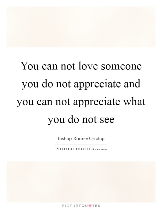 You can not love someone you do not appreciate and you can not appreciate what you do not see Picture Quote #1