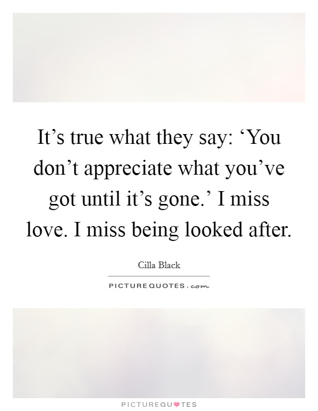 It's true what they say: 'You don't appreciate what you've got until it's gone.' I miss love. I miss being looked after Picture Quote #1