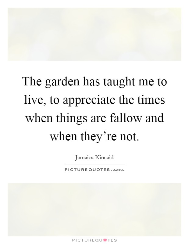 The garden has taught me to live, to appreciate the times when things are fallow and when they're not Picture Quote #1