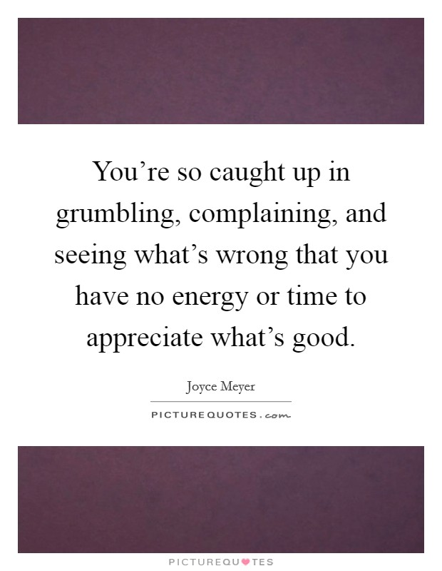 You're so caught up in grumbling, complaining, and seeing what's wrong that you have no energy or time to appreciate what's good Picture Quote #1
