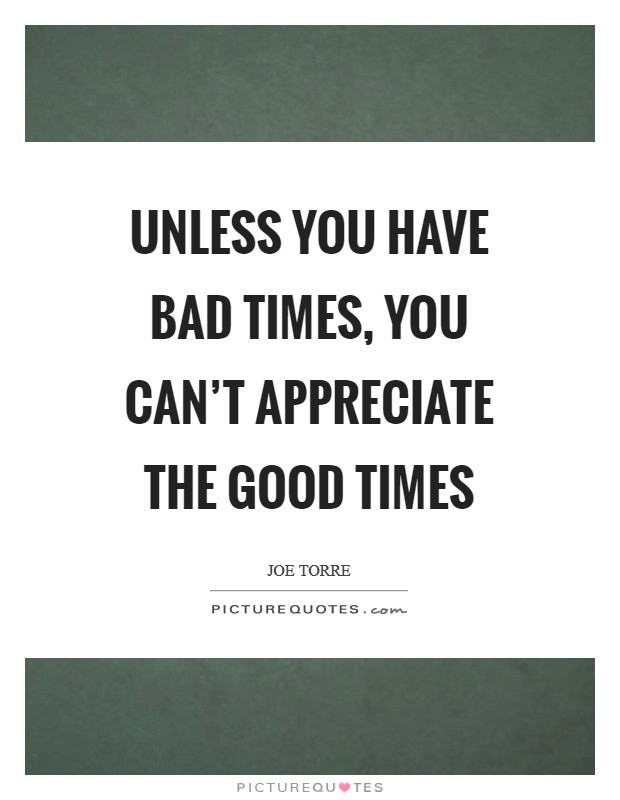 Unless you have bad times, you can't appreciate the good times Picture Quote #1
