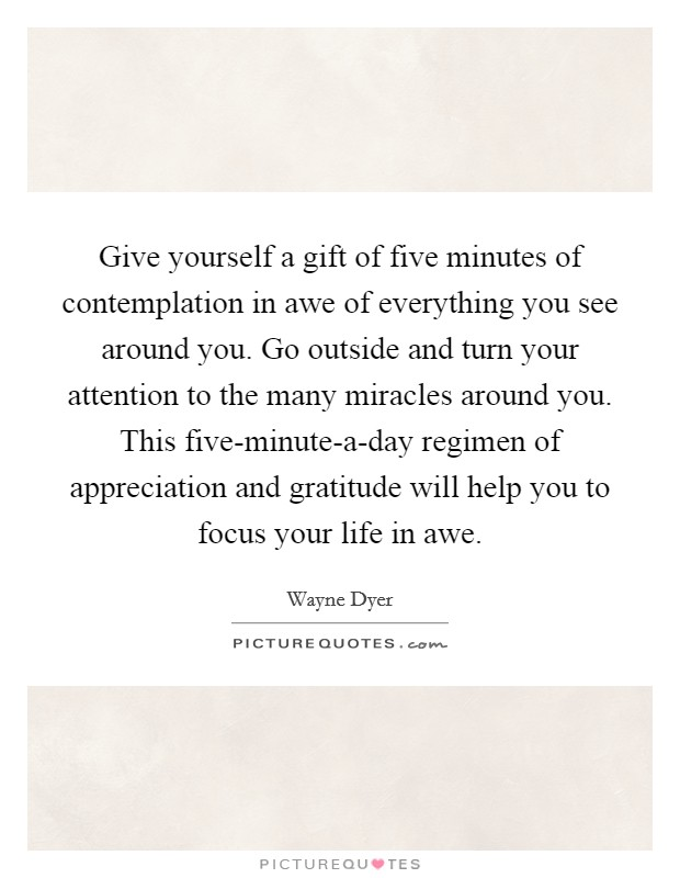 Give yourself a gift of five minutes of contemplation in awe of everything you see around you. Go outside and turn your attention to the many miracles around you. This five-minute-a-day regimen of appreciation and gratitude will help you to focus your life in awe Picture Quote #1