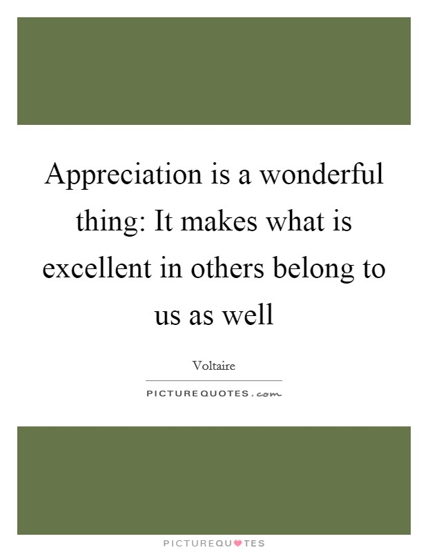 Appreciation is a wonderful thing: It makes what is excellent in others belong to us as well Picture Quote #1