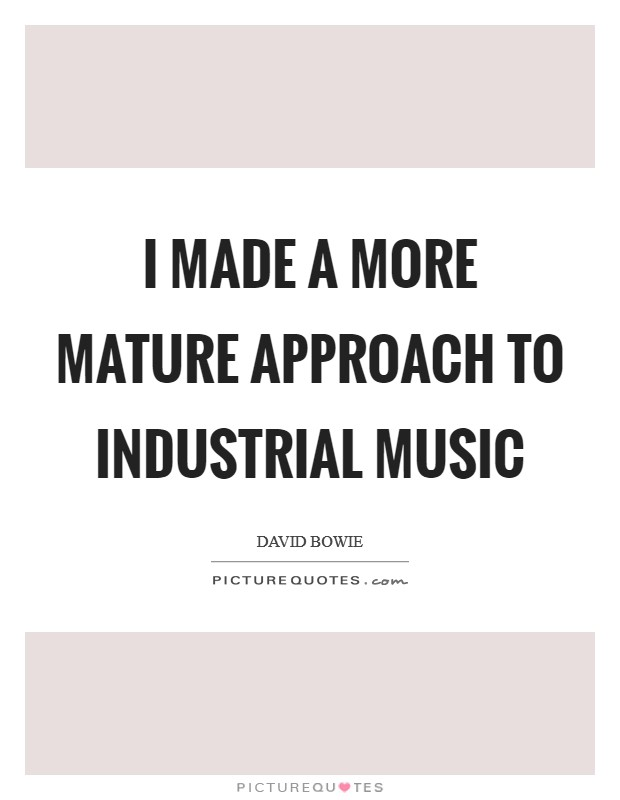 I made a more mature approach to industrial music Picture Quote #1