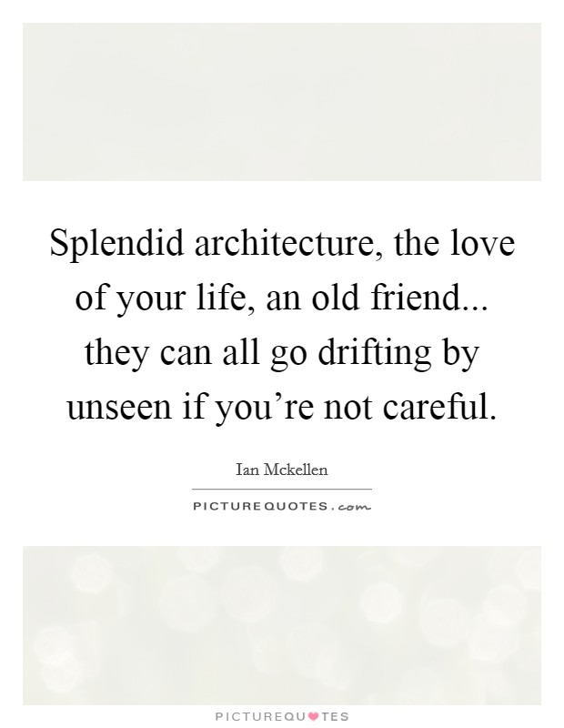 Splendid architecture, the love of your life, an old friend... they can all go drifting by unseen if you're not careful Picture Quote #1
