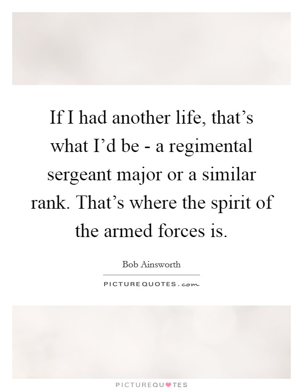 If I had another life, that's what I'd be - a regimental sergeant major or a similar rank. That's where the spirit of the armed forces is Picture Quote #1