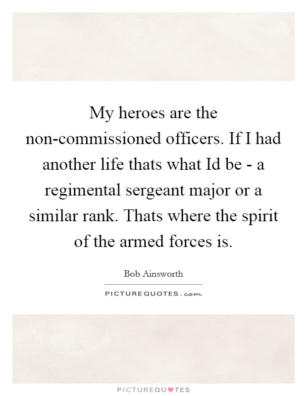 My heroes are the non-commissioned officers. If I had another life thats what Id be - a regimental sergeant major or a similar rank. Thats where the spirit of the armed forces is Picture Quote #1