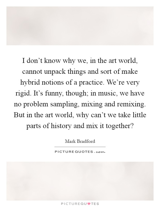 I don't know why we, in the art world, cannot unpack things and sort of make hybrid notions of a practice. We're very rigid. It's funny, though; in music, we have no problem sampling, mixing and remixing. But in the art world, why can't we take little parts of history and mix it together? Picture Quote #1
