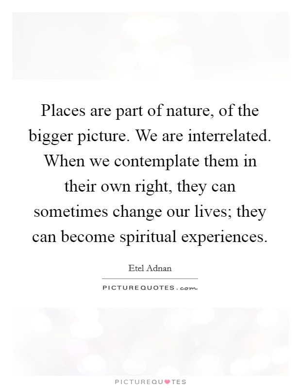 Places are part of nature, of the bigger picture. We are interrelated. When we contemplate them in their own right, they can sometimes change our lives; they can become spiritual experiences Picture Quote #1