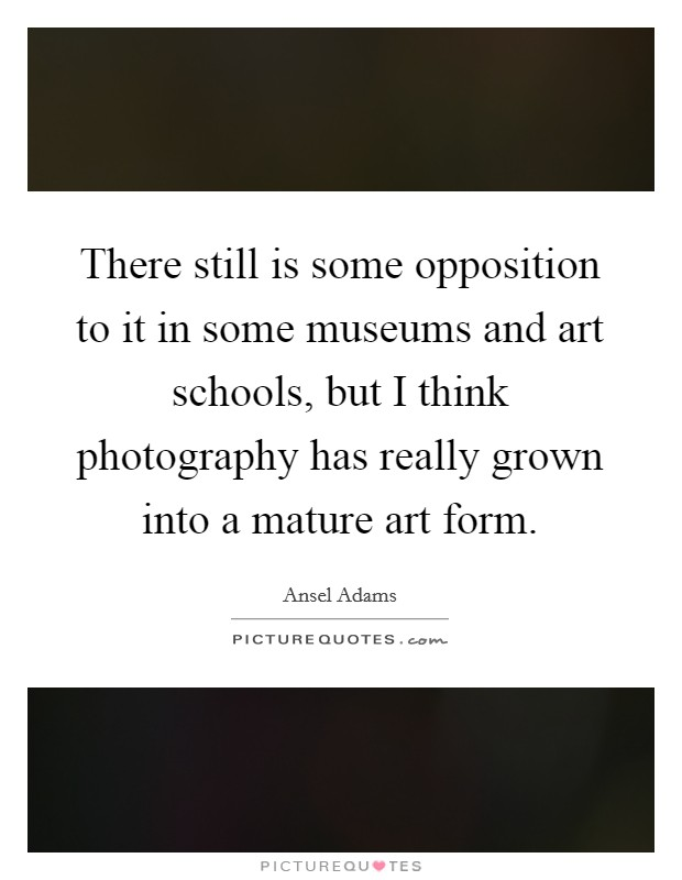 There still is some opposition to it in some museums and art schools, but I think photography has really grown into a mature art form Picture Quote #1