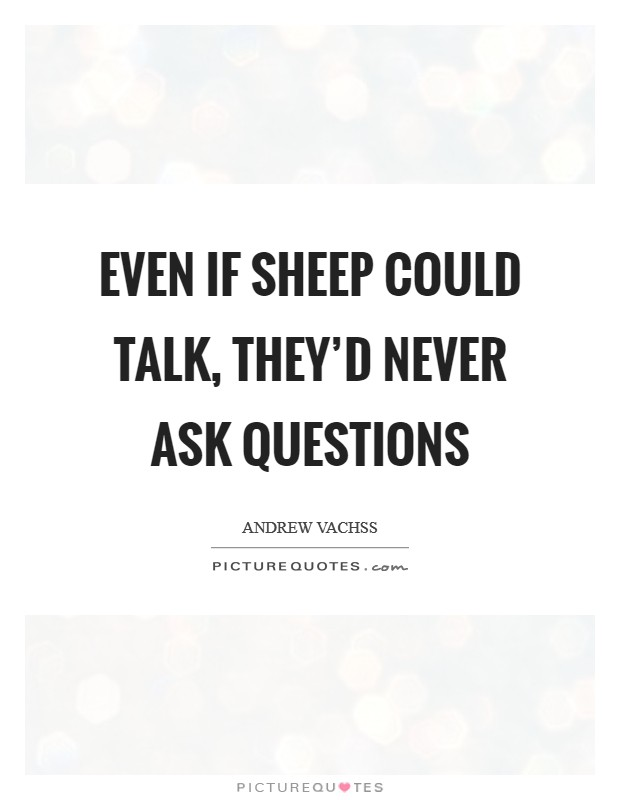 Even if sheep could talk, they'd never ask questions Picture Quote #1