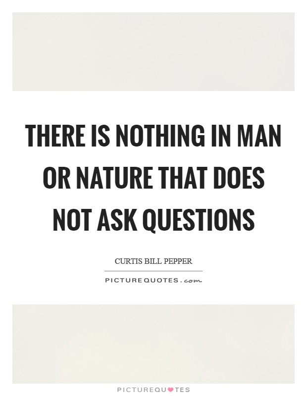 There is nothing in man or nature that does not ask questions Picture Quote #1