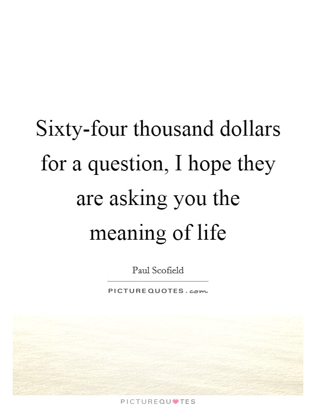 Sixty-four thousand dollars for a question, I hope they are asking you the meaning of life Picture Quote #1