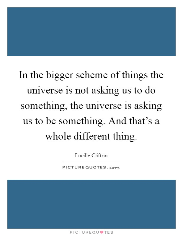 In the bigger scheme of things the universe is not asking us to do something, the universe is asking us to be something. And that's a whole different thing Picture Quote #1