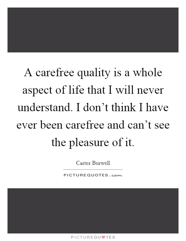 A carefree quality is a whole aspect of life that I will never understand. I don't think I have ever been carefree and can't see the pleasure of it Picture Quote #1