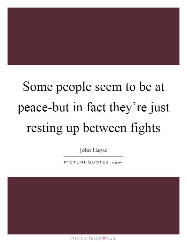 Some people seem to be at peace-but in fact they're just resting up between fights Picture Quote #1
