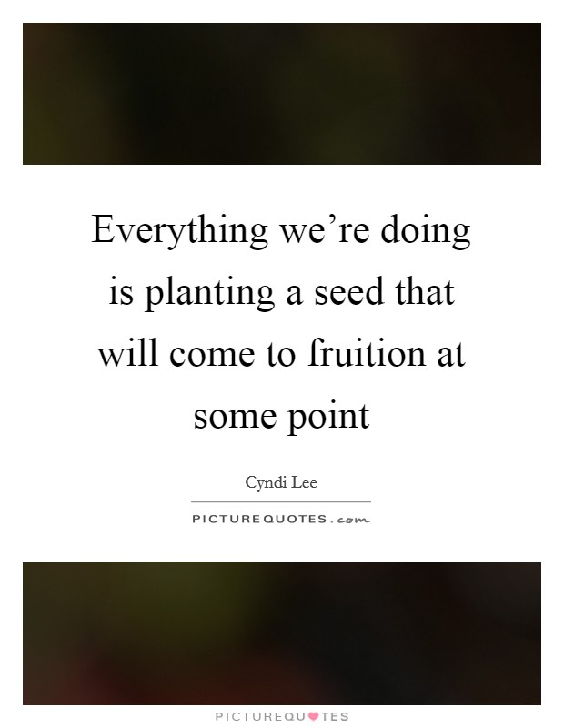 Everything we're doing is planting a seed that will come to fruition at some point Picture Quote #1