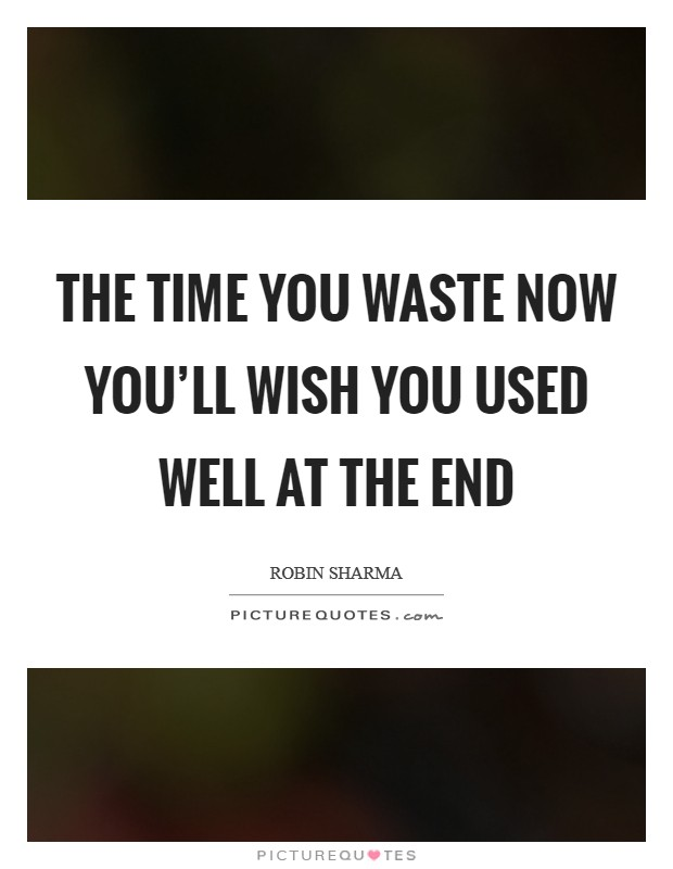 The time you waste now you'll wish you used well at the end Picture Quote #1