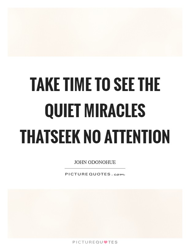 Take time to see the quiet miracles thatseek no attention Picture Quote #1