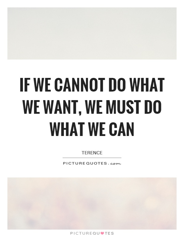 If we cannot do what we want, we must do what we can Picture Quote #1